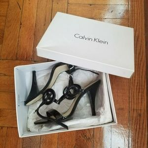 Calvin Klein Black Patent Leather Sandals